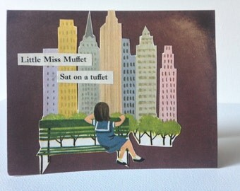 greeting card, handmade card, any occasion, miss muffet, NYC, collage, mixed media,
