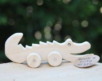 Clive - Handmade Wooden Toy Crocodile