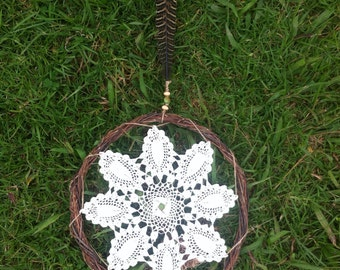 Doyley Dream Catcher with Willow Frame and Pheasant Feather