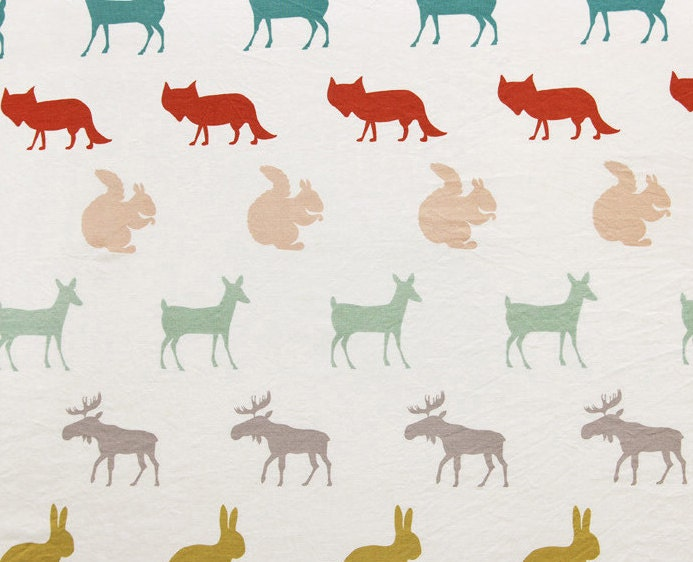 Cartoon animal pattern print fabric cotton linen fabric by for Animal print fabric for kids