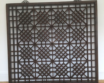Antique Chinese fretwork screen. Architectural salvage.