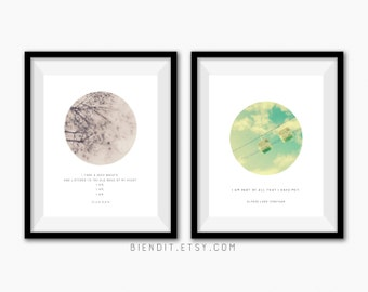 Choose Any Two Print Set, Literary Quotes, Poetry Prints, Posters, Minimalist Art