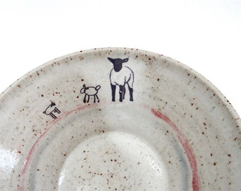Modern Ceramic Bowl with Lambs for Breakfast Lunch and Dinner - Handmade Stoneware Pottery