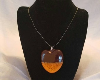 Glazed heart pendant necklace - brown and orange