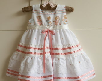 9-12 Months Only! White Dress Baby Girls with Cute Mice on Chest and Pink Ribbon and Embroidery Detail