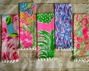 Custom Made Lilly Pulitzer Napkins with Pom Poms Monogrammed Or Blank Set of 4