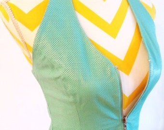 Turquoise in July  - Wilson leather turquoise zipper vest halter top size small