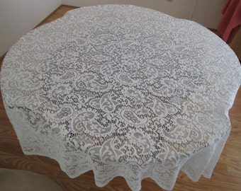 White Lace Tablecloth/Overlay, Vintage White Lace Tablecloth, Cottage Chic Lace Tablecloth, White Lace Tablecloth, Lace Tablecloth/Overlay