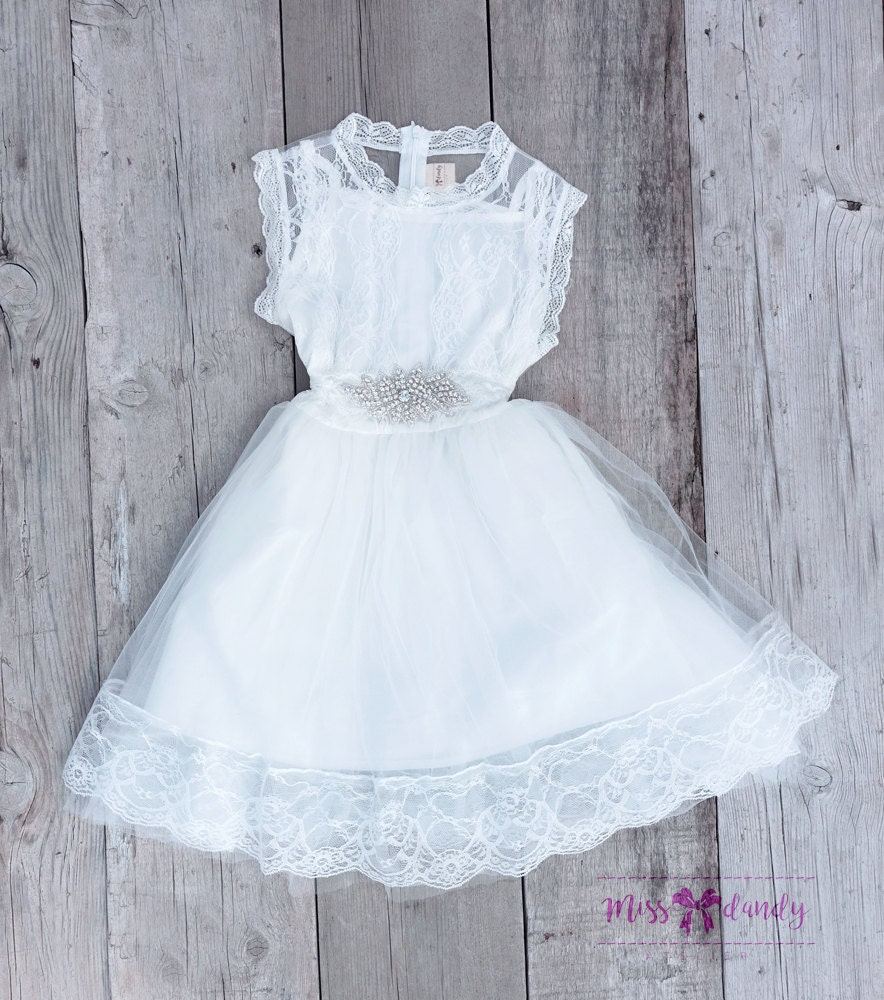 First Communion Dress, Flower Girl White Lace Dress,Boho Girls Dress, Lace dress for girls, Rustic, Boho flower girl dress, Bohemian Wedding