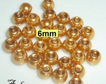 30 glass beads, pearl beads 6 mm gold (806.22)