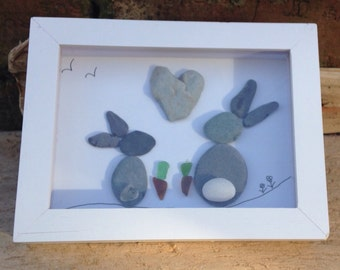 Bunnies in love, sea glass, stone beach finds with driftwood wall art