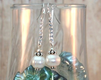 Sterling Silver Pearl Drop Dangle Earrings ~ Bridal ~ Boho ~ Cottage Chic