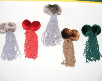 Lot of 5 pom poms-flakes passementerie former/fashion/jewelry.