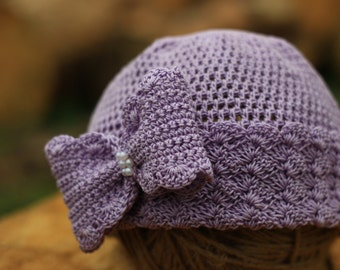 Purple girl hat, baby girl purple hat, baby hat, baby photo prop, Flower cap, crochet baby hat, newborn girl hat, newborn purple hat, cap.