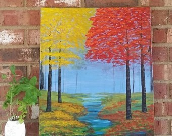 "Autumn Sunset-""16 x 20""original landscape painting on canvas"