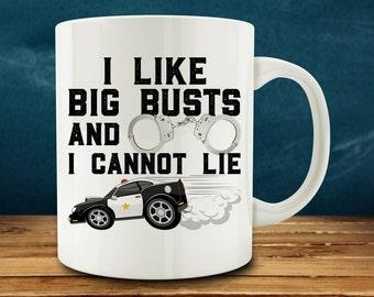 Police Officer Gift, I Like Big Busts and I Cannot Lie mug (M815-rts)