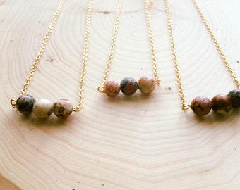 Semi Precious Necklace- Leopard Jasper 3 Beaded Necklace- Natural Necklace