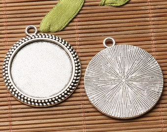 4pcs dark silver color rim  round shaped cabochon setting in 25mm EF3184