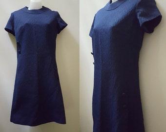 SALE Vintage 60s/70s Dress // Navy Blue 60s/70s Dress Medium Mod Fall