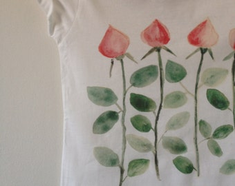Rosebuds for Little Girls Hand Painted and Digitally Printed on Organic Cotton Tees