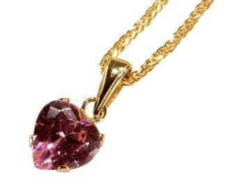 heart pendant. cubic zircon pendant, pink pendant, heart pendant, heart gold pendant, small heart pendant, 14k gold pendant, solid gold