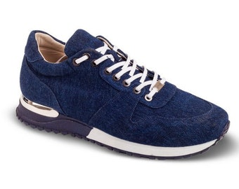 Jeans sneakers | handmade mens jeans fabric sneakers | lace up sneakers