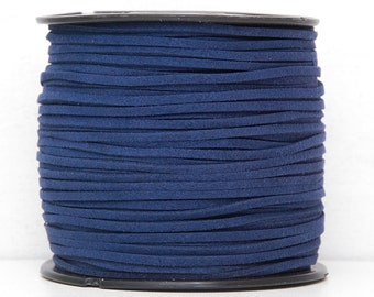 Navy blue faux suede cord 3mm Jewelry supplies Jewelry cord Navy color suede rope Suede thread Craft project  Vegan suede cord/ 3 meters