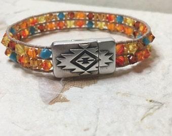 Desert Southwest inspired leather and Swarovski Crystal cuff bracelet