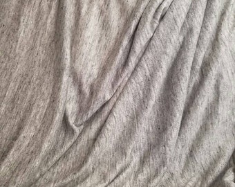"100%Linen Heather grey speckeled yarn dyed jersey knit Natural Fiber by the yard Eco-friendly 70"" wide"