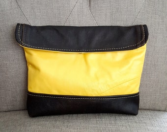 Yellow and Brown Leather Clutch