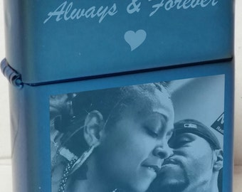 Authentic Engraved Saphire Zippo Lighter with Free Photo & Text Engraving - NEW - Great Gift Idea
