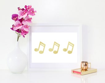 DIGITAL DOWNLOAD, Gold Music Note, Music Note art, Music Digital Art, Music Note Digital Download, Instant Download
