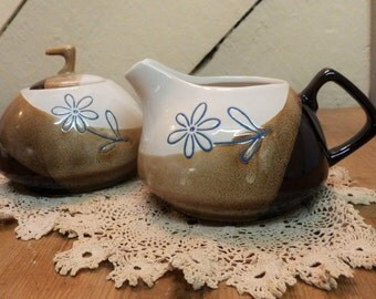 Quirky 1960's cream jug and sugar bowl - lovely little 50's duo (stock#6366)