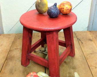 Red Stool - Little Stool - Shabby Red Stool - Cute Little Red Stool (stock#6256)