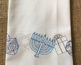 HANUKKUH - Hanukkuh Border - Kitchen Dish Towel, Tea or Bar Towel, Hand or Guest Towel