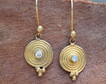 Volta Handmade Gold Over Sterling Silver White Topaz Circular Dangle Earrings