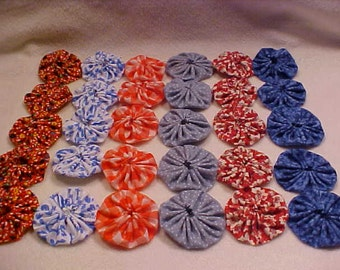 """1 and 3/4"""" Fabric Flowers 30 YoYo Vintage Red White & Blue Quilt Headband Rosette Hair Clip Bow Bobby Pin Scrapbook Wholesale Handmade A1"""
