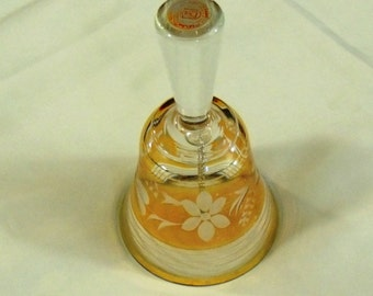Yugoslavia Etched Glass Floral Dinner Bell
