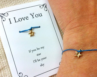 Wish Bracelet, Star Pendant with Love Message ,Inspirational quote, Gift card, Gift ideas for girlfriend, Boyfriend, Couples,Gift under 10