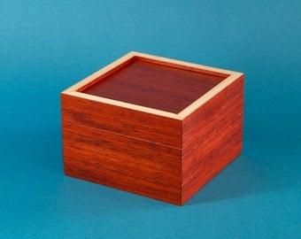Small Wooden Box / Padauk Keepsake Box / Wooden Jewelry Box / Candy box / Candy Jar / Small storage box / Desk organizer