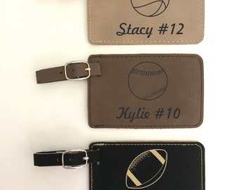 Sports Gift Personalized Luggage Tag Leather Luggage Tag Monogram Luggage Tag Luggage Tags Personalized Custom Luggage Tag Gift