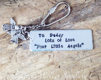 Hand Stamped Daddys's Little Angels Personalised Message Keyring