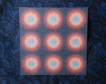 """Blotter Art """"Sri Yantra"""" Perforated Print Paper Psychedelic Collection Acid Free"""