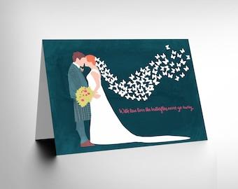GREETINGS CARD Birthday Gift Wedding True Love Butterflies CL1898