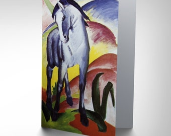 Franz Marc Blue Horse 1911 Old Master Birthday Blank Greetings Card CP1100
