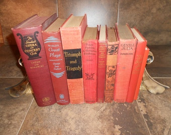 Lot of Dark & Light Red Books