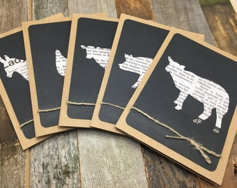 Farm Animal Card, Rustic Card, Set of 5 Cards, Five Cards, Recycled Newspaper Card, Blank Greeting Card, Shabby Chic Card, Any Occassion