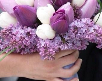 Purple and white tulip bridal bouquet