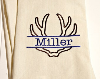 Personalized Dish Towel Embroidered With Antlers for Cabin or Cottage
