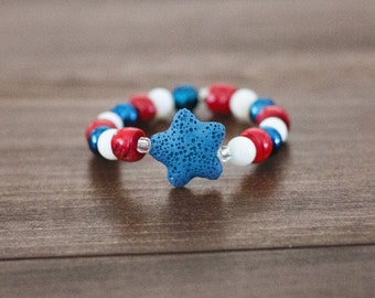 Children Youth Patriotic American Bracelet USA Olympic 4th of July Lava Bracelet Essential Oil Diffuser Bracelet Red White and Blue